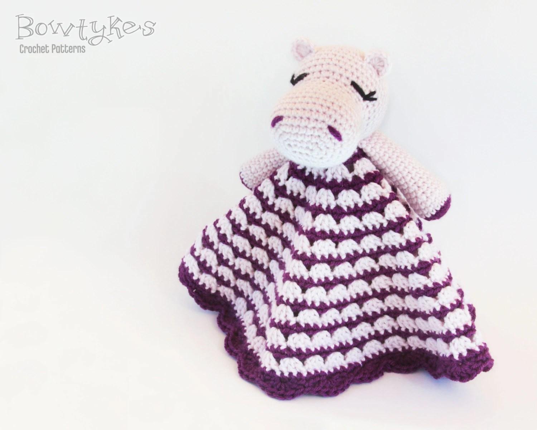Hippo Lovey CROCHET PATTERN instant download - blankey, blankie, security blanket