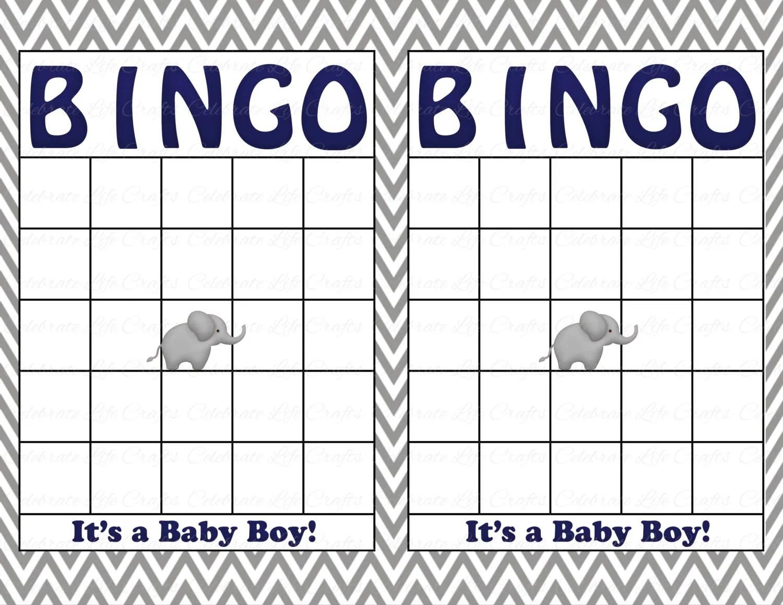 Blank Baby Shower Bingo Cards Printable Party Baby Boy