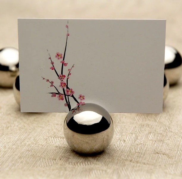 Place Card Holder Wedding Round Silver Ball Stainless Steel