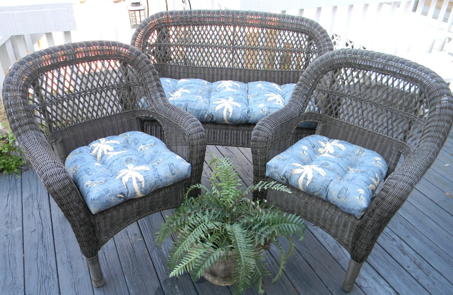 Blue Tommy Bahama Nautical Tropical Cushions For Wicker