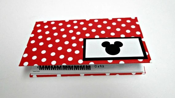 Disney Mickey or Minnie Mouse Red Polka Dot Checkbook Cover Completely Handcrafted and One of a Kind