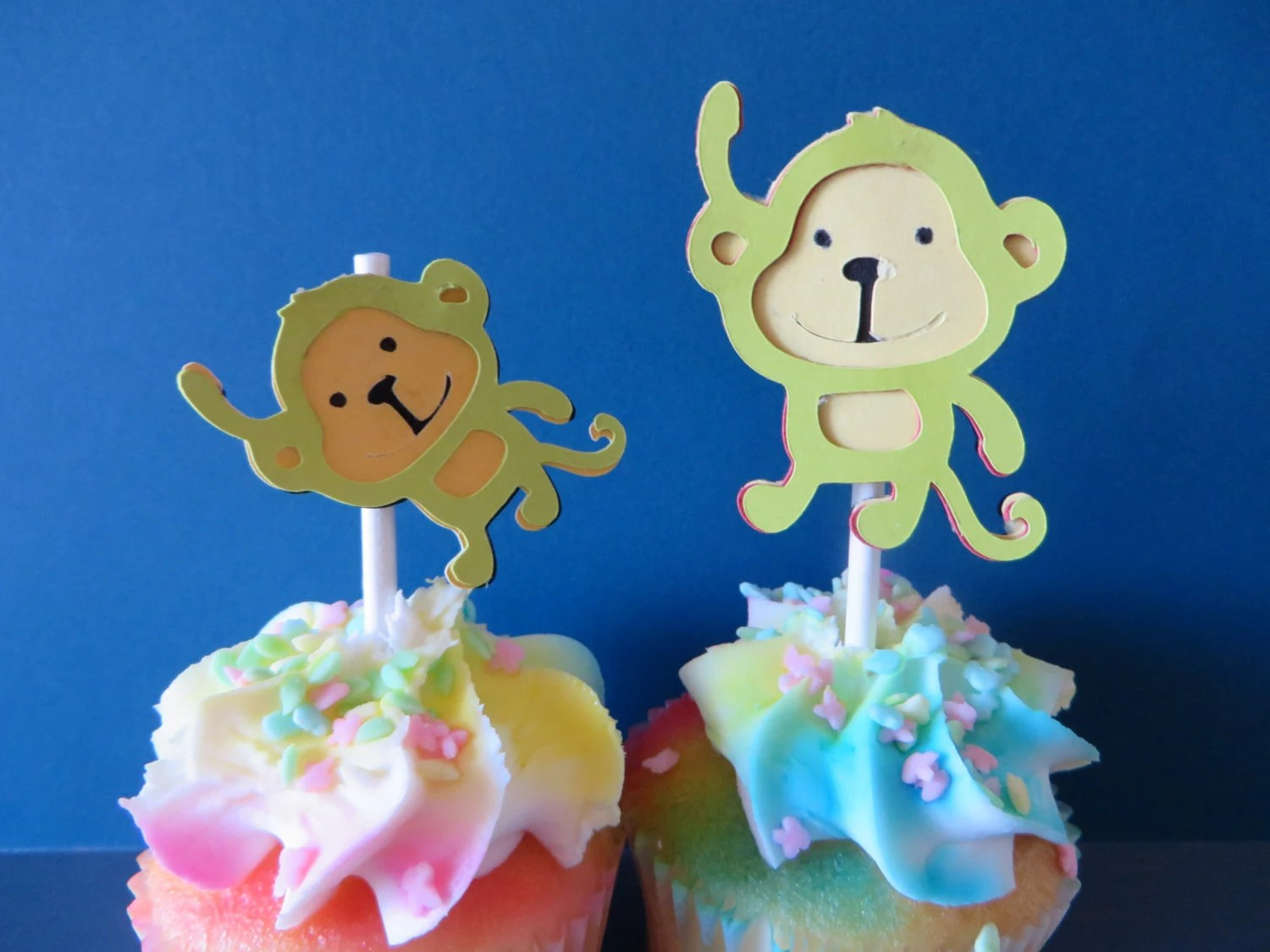 Mama Monkey And Baby Monkey Party Pick Cupcake Toppers