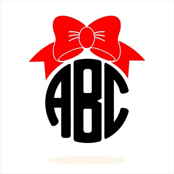 Download Personalized Monogram Bow Red Bow SVG DXF EPS Cricut by ...