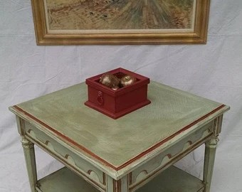 "ESPERANTO Table by Drexel. Solid wo od. Hand painted in ""Venice Style"
