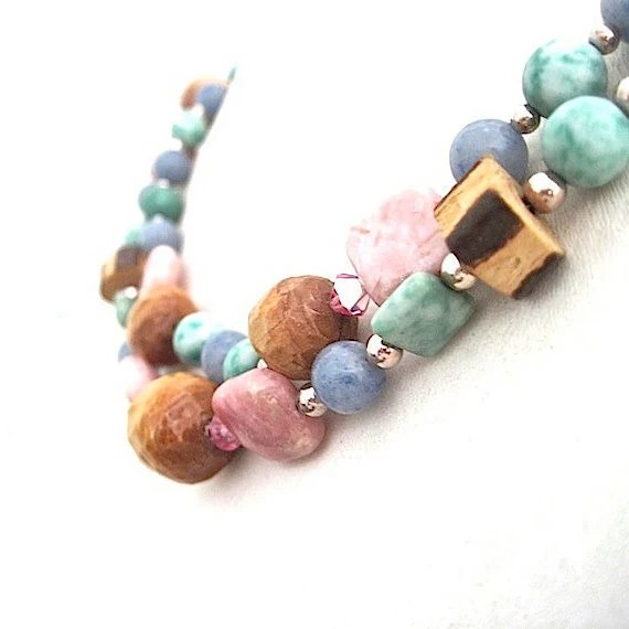 Eclectic Boho Necklace Stones Gemstones Wooden Beads Swarovski Crystals Sterling Silver Bohemian Jewelry - RoughMagicCreations