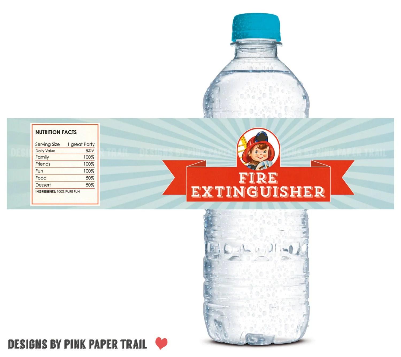 Firetruck Fireman Fire Engine Water Bottle Label Print Your