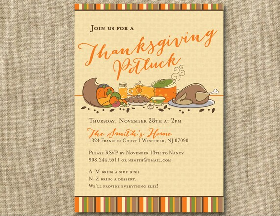 Office Thanksgiving Potluck Invite Wording