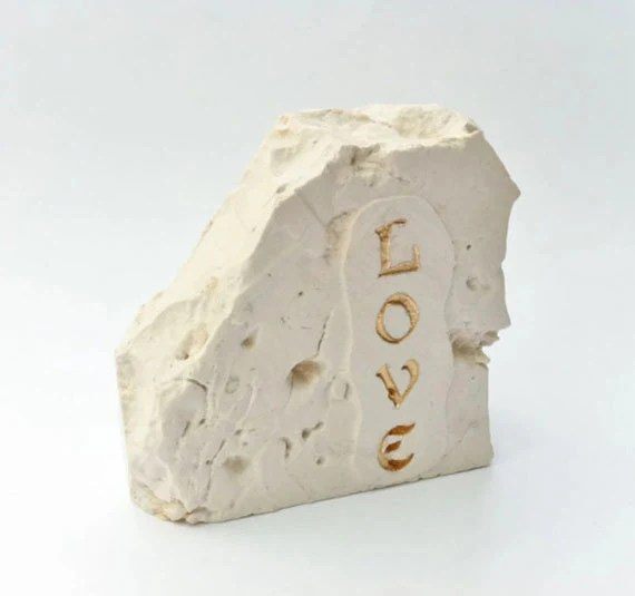 Jerusalem Stone  Engraved Carved Etched with word Love,engraved stone gift, souvenir from Holy Land, home decor, OOAK, ready to ship - JStonesAndGlass
