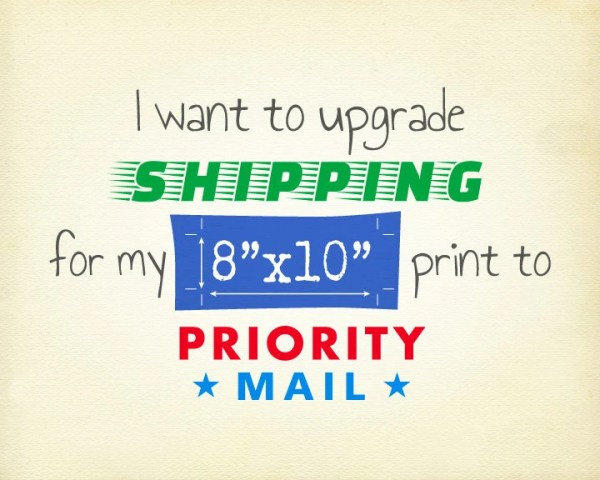 Upgrade to USPS Priority Mail Shipping for 8x10