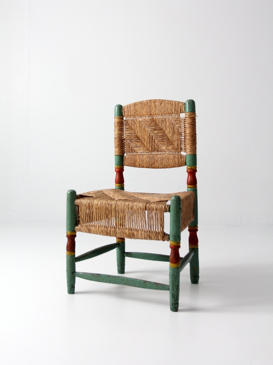 Antique Rush Chair Painted Wood Chair With Woven Seat And