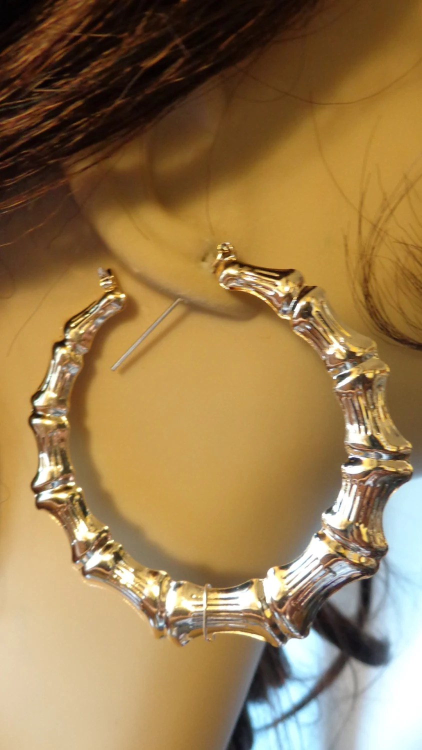 VINTAGE 80s BAMBOO HOOP Earrings Gold Tone Hoop Earrings