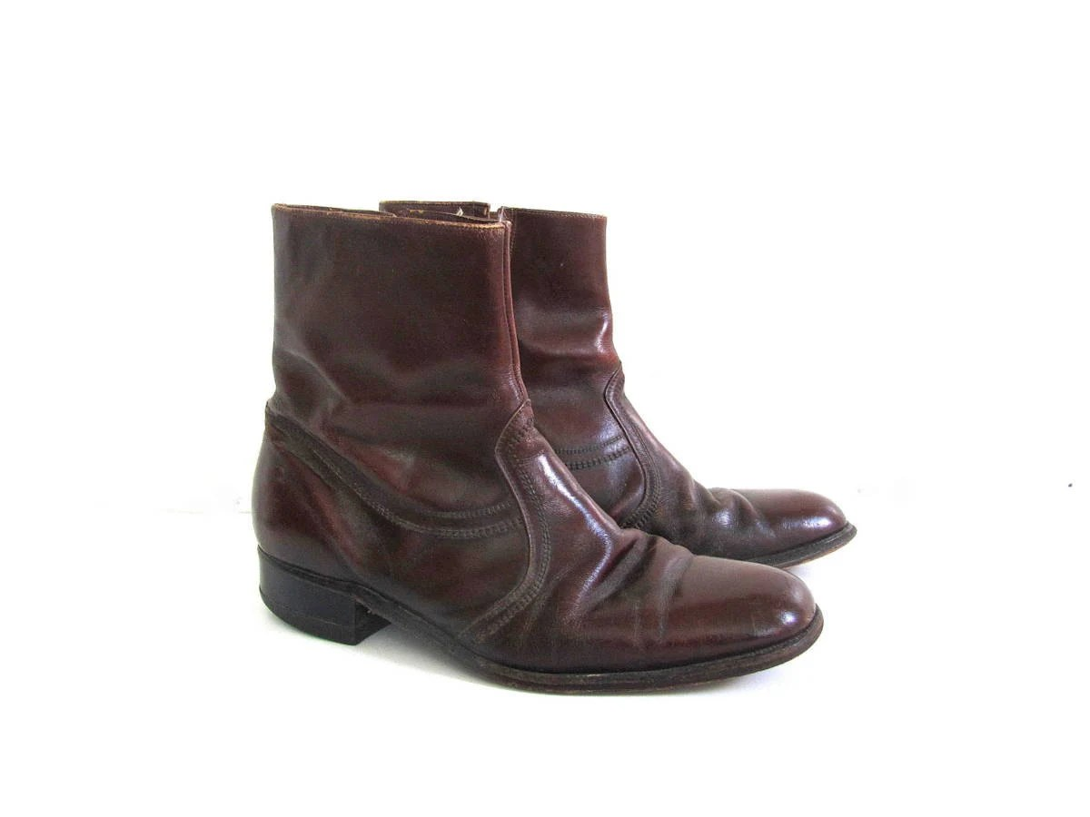 vintage 60s reddish brown leather ankle beatle boots with