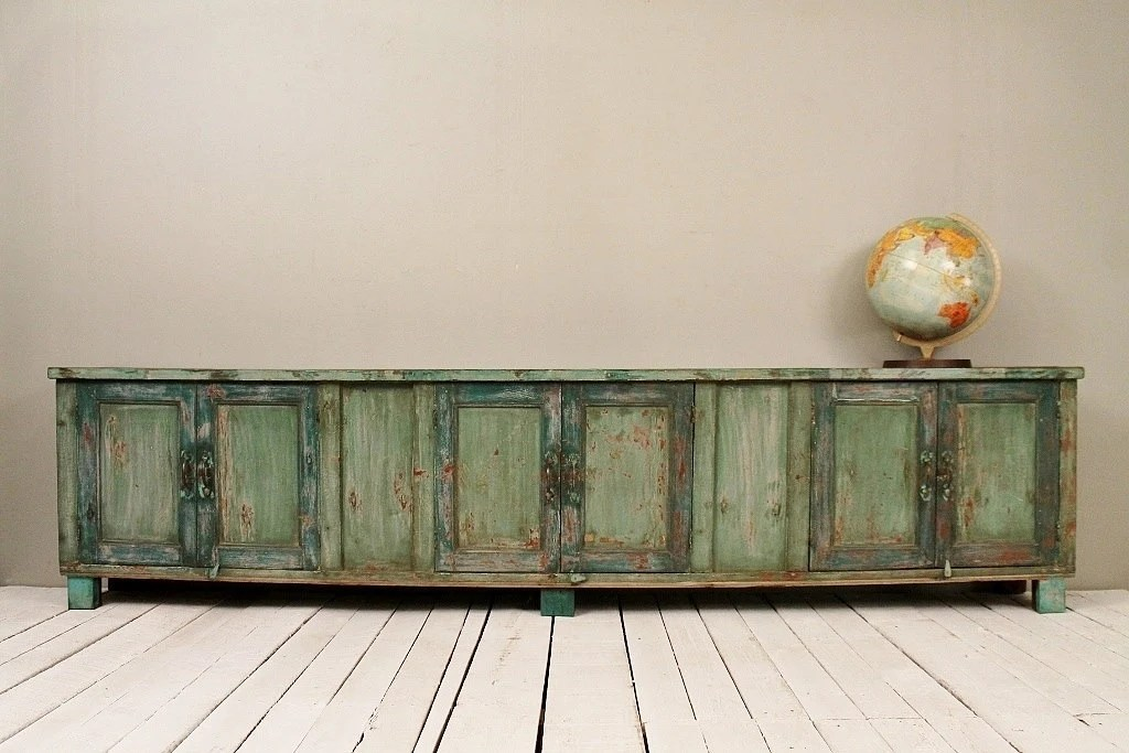 Long And Low Reclaimed Antique Sideboard Media Console TV