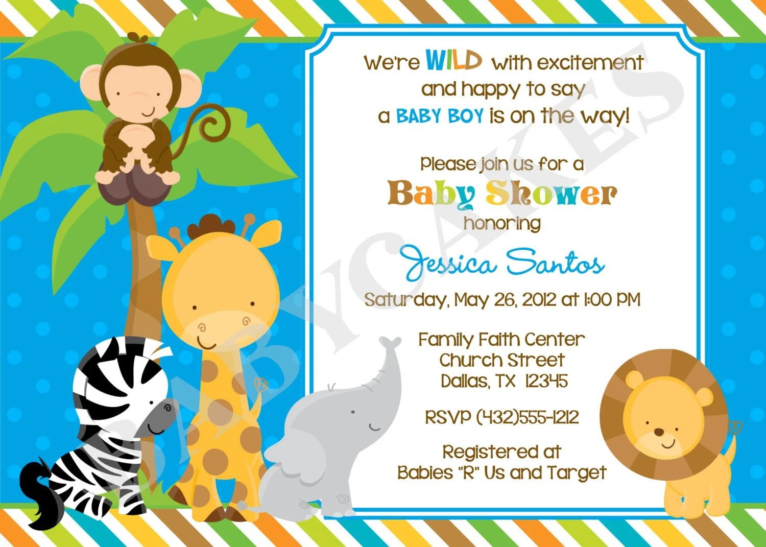 Safari Jungle Animals Baby Shower Invitation Diy Print Your