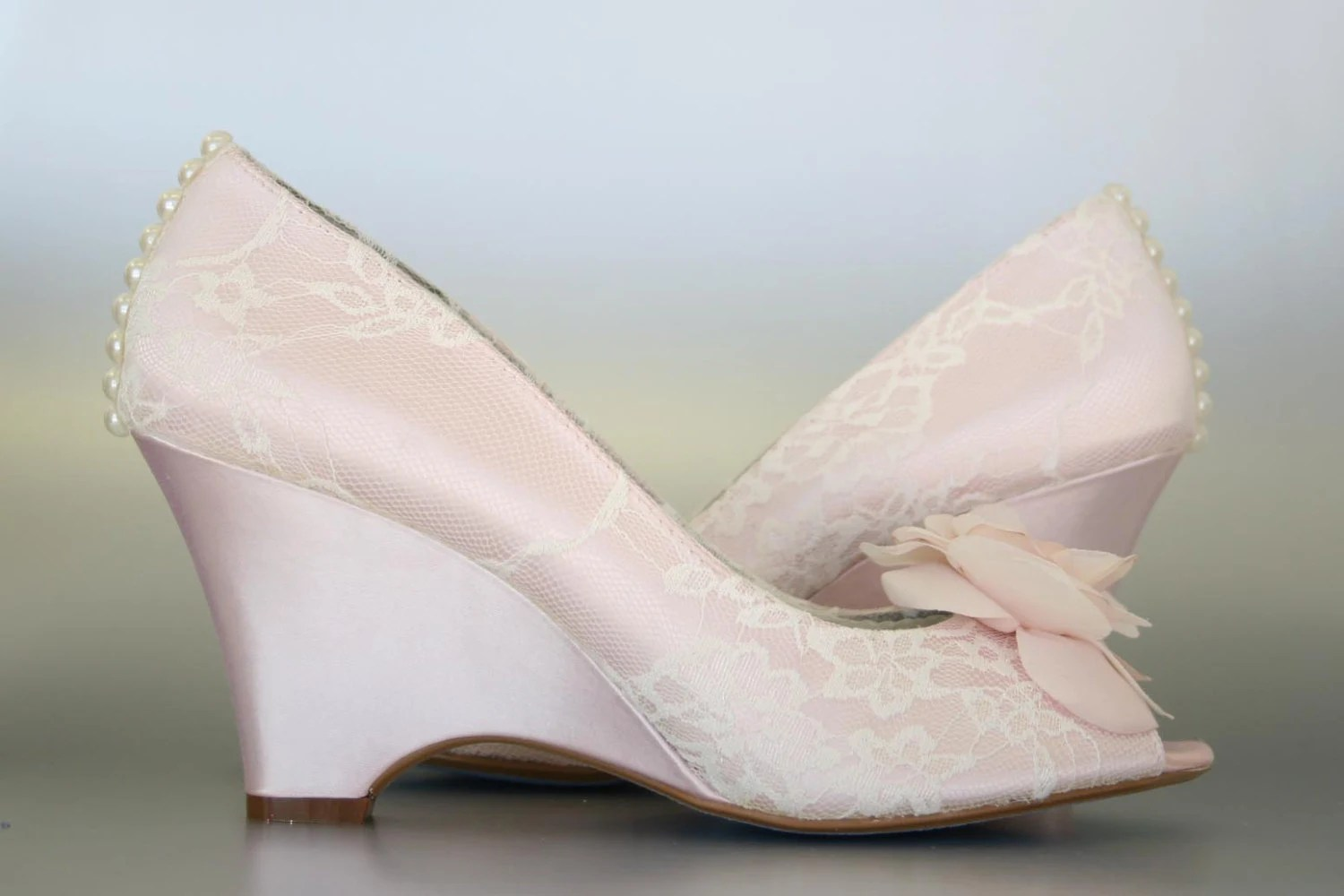 Lace Wedge Wedding Shoes
