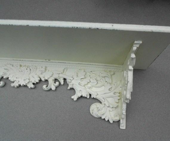 WALL SHELF Vintage Ornate Shabby Chic Cottage White
