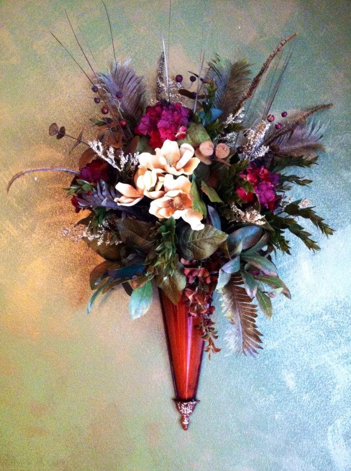 Wall Sconce Burgandy and Cream Silk Flowers Floral Arrangement on Wall Sconce Floral Arrangements Arrangement id=16269