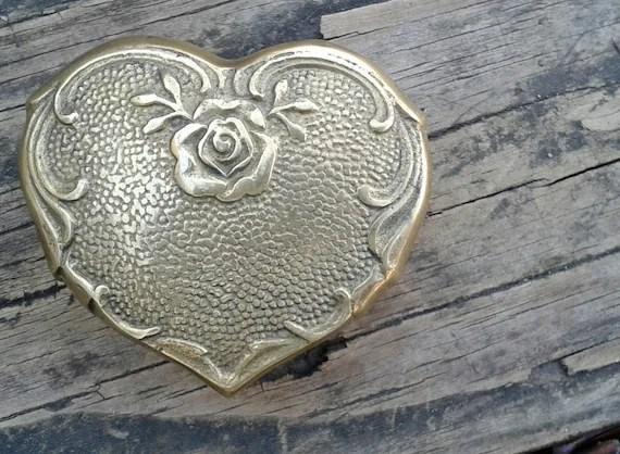 Vintage Brass Heart Trinket Box