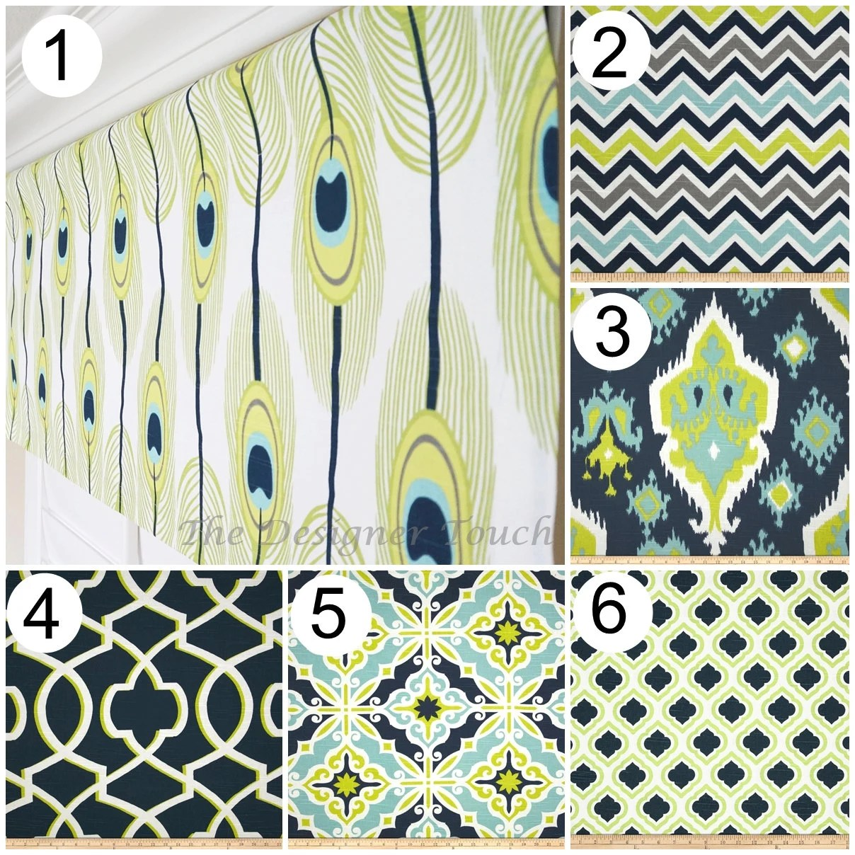 Peacock Feather Valance Trellis Valance Navy By