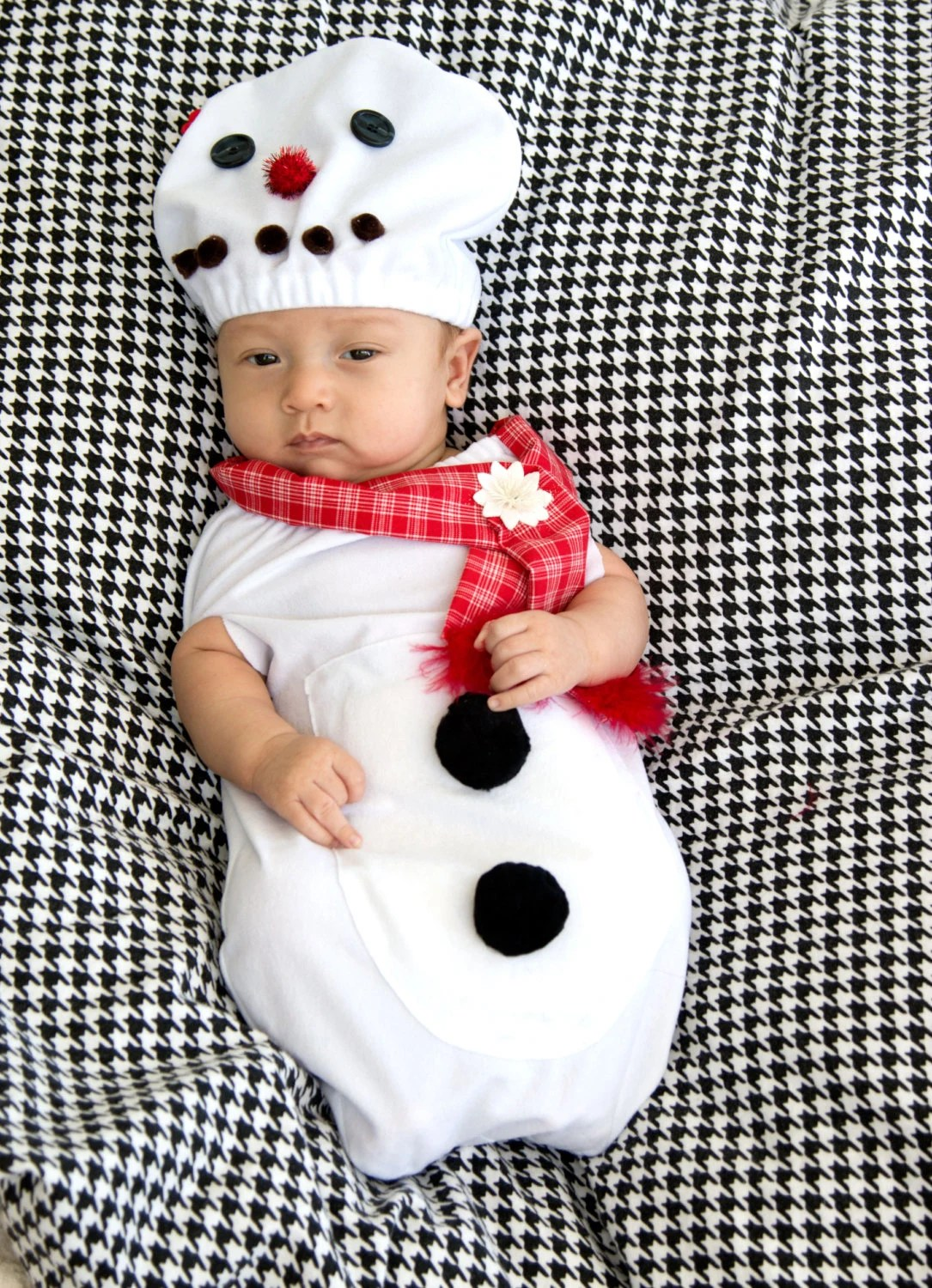 Christmas Baby Costume CUTE SNOWMAN Hat And Baby Swaddle Baby