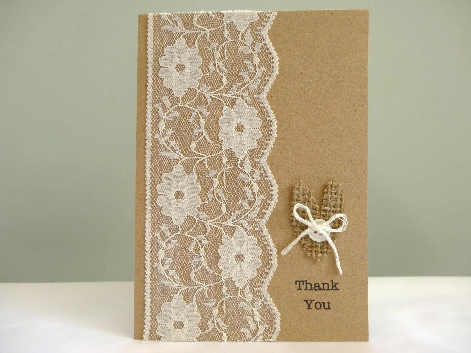 Rustic Wedding Thank You Cards Burlap And Lace By FluffyDuck