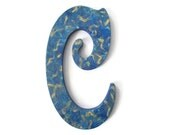 """Victorian Letter C hand painted in blue and metallic gold, 10"""" wooden wall letter, ready to ship decorative letter - FischerFineArts"""