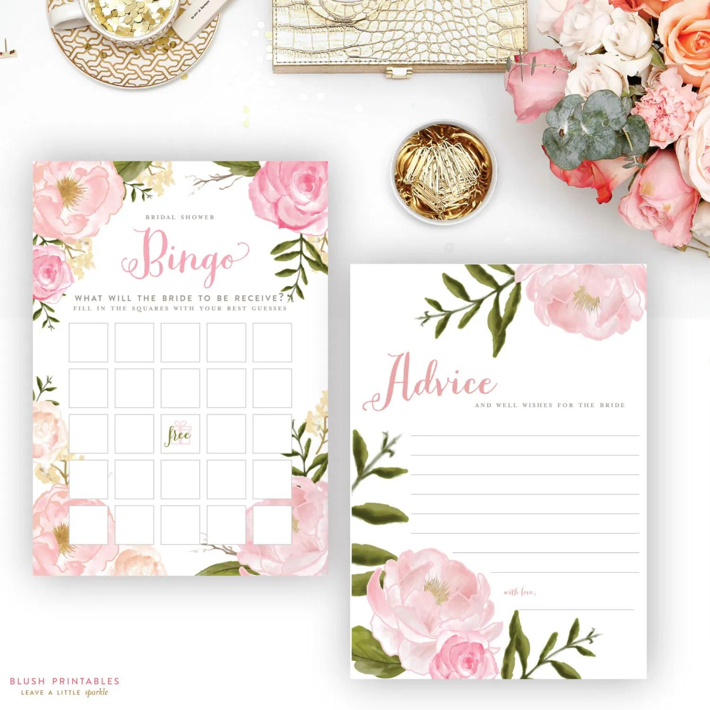 Printable Romantic Floral Bridal Shower Games Set Bingo He