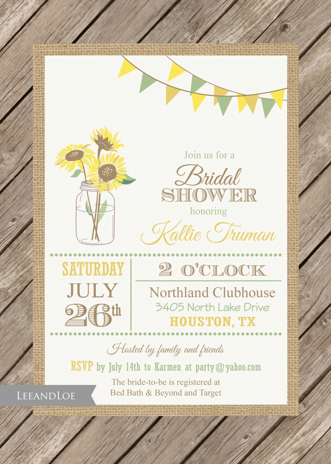 Bridal Shower Invitations Mailed Out