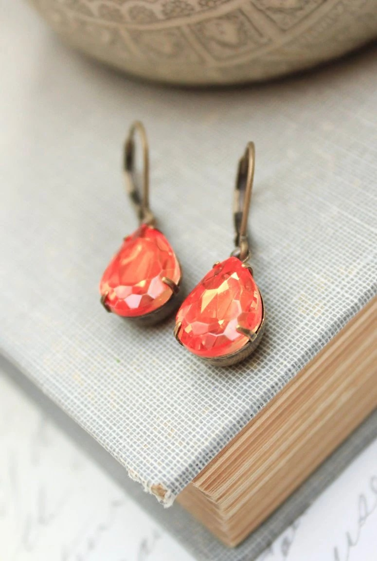 Orange Glass Earrings Pear Dangle Earrings Tangerine Fire Antique Gold Brass Dark Peach Drop Vintage Teardrop Modern Accessories Lever back - apocketofposies