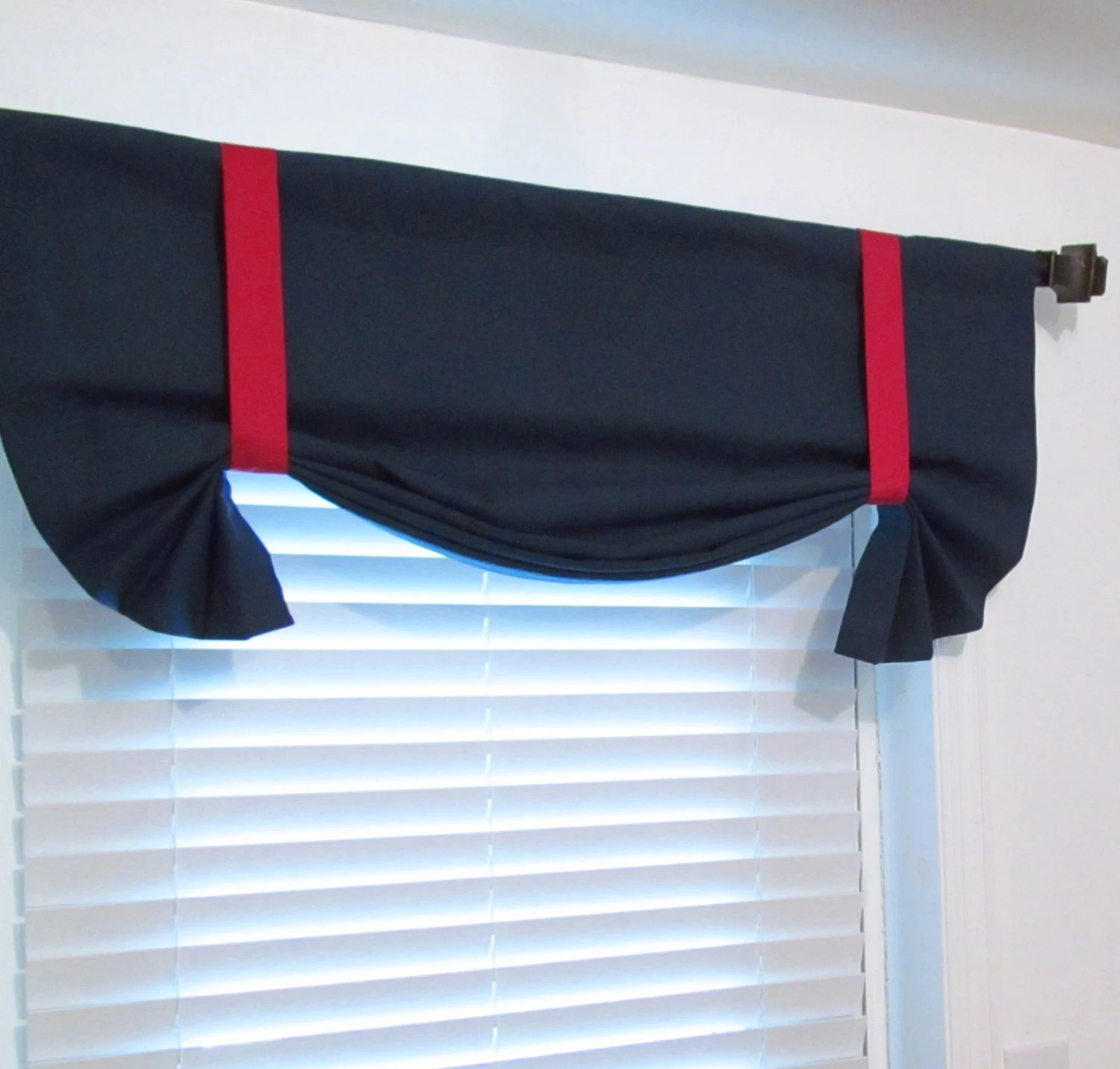 Nautical Tie Up Valance Solid Navy Amp Red Lined Curtain