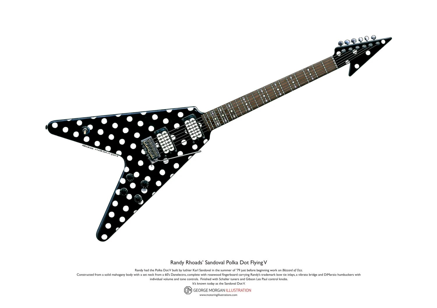 Randy Rhoads Sandoval Polka Dot Flying V Art Poster A3
