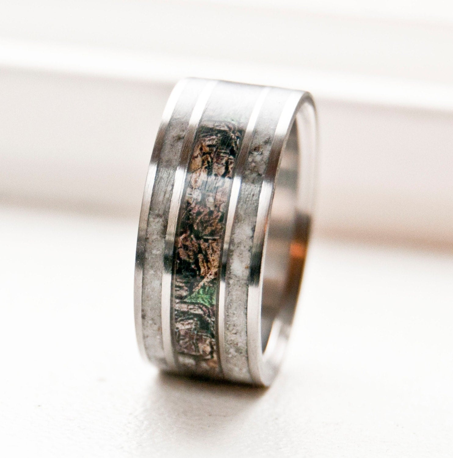 Mens Wedding Band Camo With Antler Ring Staghead