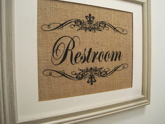 Restroom Burlap Bathroom Sign