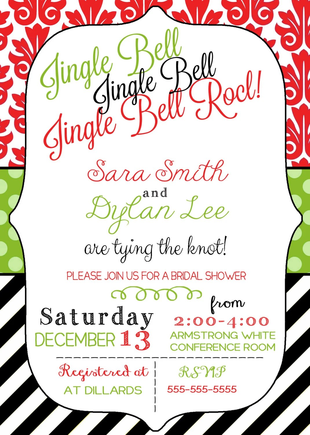 Holiday Bridal Shower Invitations
