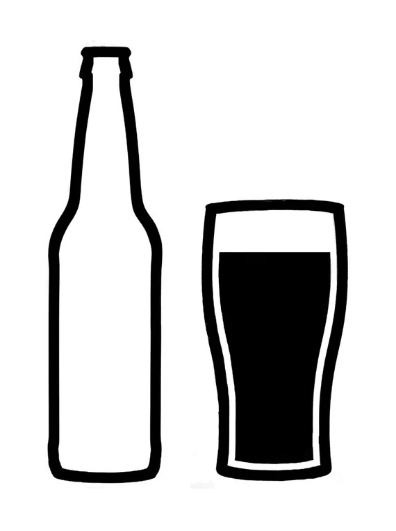 Download Items similar to Craft beer bottle and glass Vinyl Decal ...