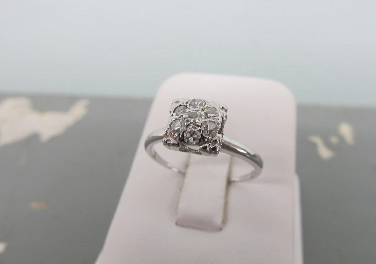 Vintage Engagement Ring Square Cluster Ring Diamond Cluster