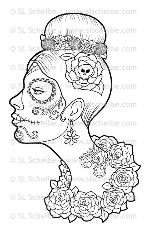 Digital Stamp Day Of The Dead Calavera Girl Dia De Los