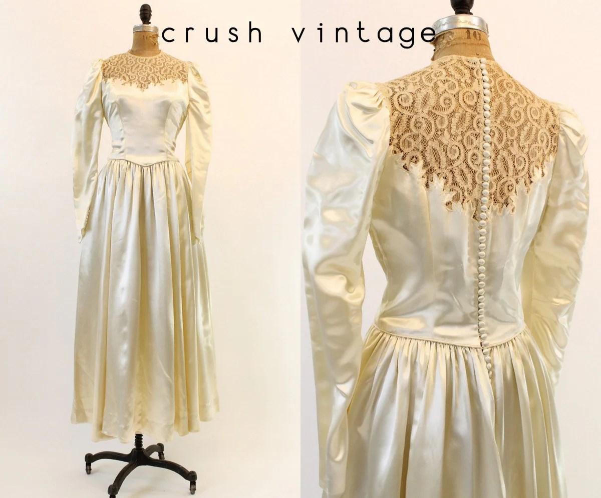 40s Wedding Dress Silk Charmeuse Medium / 1940s Lace Bridal