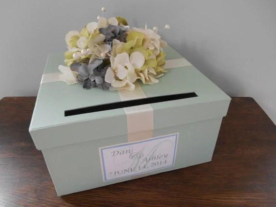 Items Similar To Wedding Card Box Mint Green Wedding