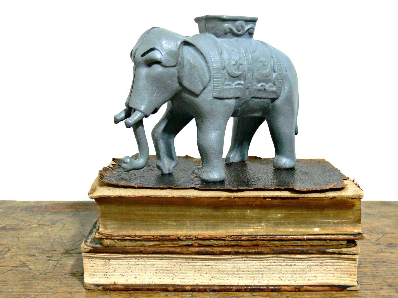 Iron Elephant Lamp Antique Cast