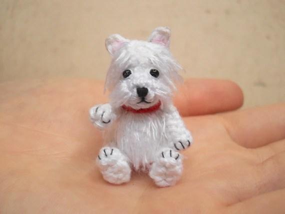 White Westie Crochet Miniature Dog Stuffed Animals Made To