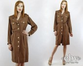 Vintage 80s Yves Saint Laurent Dress XS S Brown Dress Secretary Dress Day Dress Work Dress Silk Dress Designer Dress YSL Dress