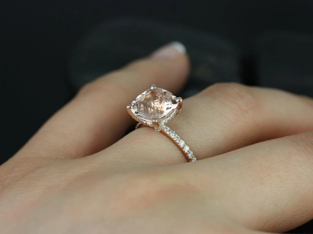 Heidi 9mm 14kt Rose Gold Cushion Morganite And By RosadosBox