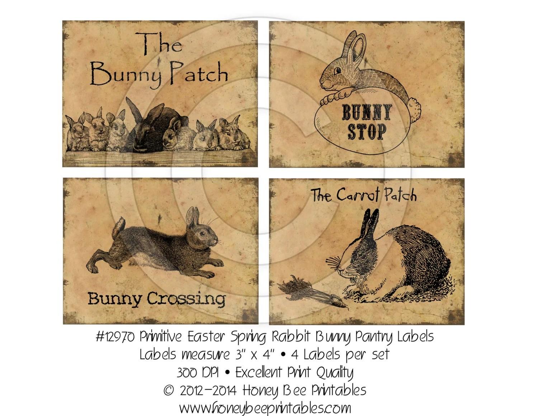 Primitive Easter Rabbit Kitchen Pantry Farmhouse Labels Logo