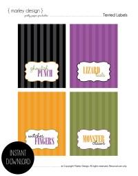 halloween food label cards