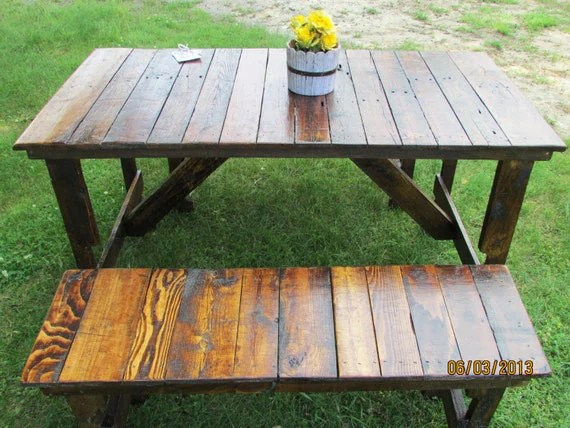 5' Rustic Kitchen Table & 2-Bench Set Reclaimed Wood