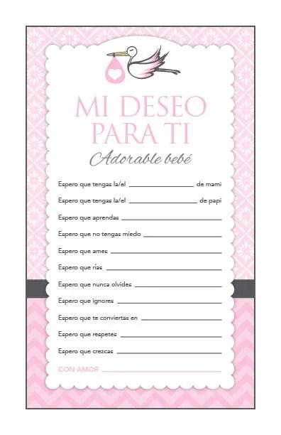 Instant Download Pink Stork Spanish Baby Shower Games For