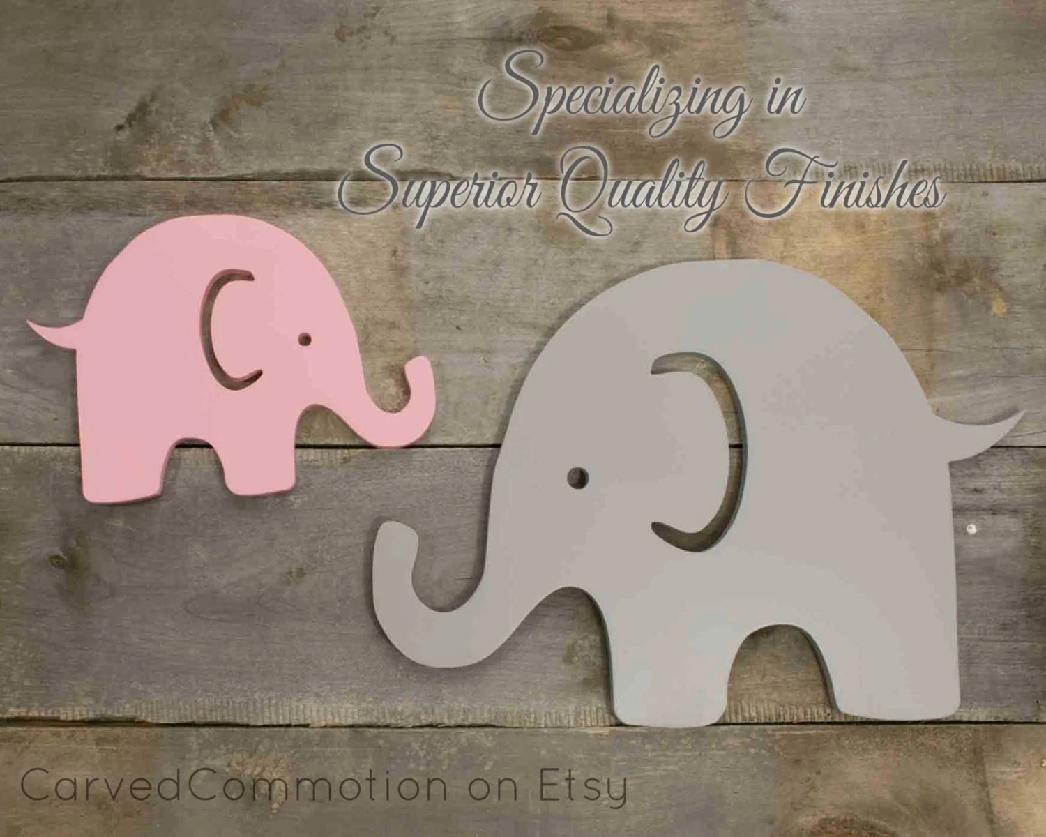Wooden Elephant Cut Out Nursery Wall Decor By Carvedcommotion