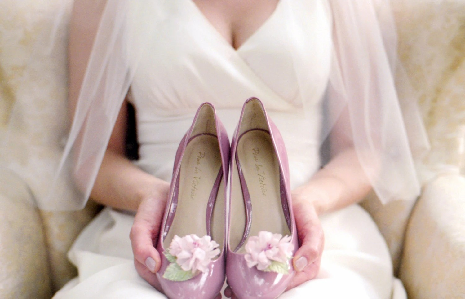 Silk Cherry Blossom Wedding Shoe Clips Pink, White, or Ivory - LittleOvertheTopShop