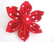 dog collar flower ,red polka dot flower ,dog collar accessory ,wedding dog flower